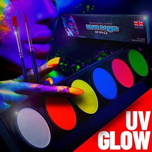 Blue Squid Neon UV Licht Schminke Schwarzlicht Pro Neon Glow Bodypaint Farbe-Palette - 6x10g Neonfarbpalette, Professionelles UV-Schwarzlicht-Set für Körper- und Face Paint, SFX-Schminke