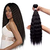 Synthetic Hair Kinky Straight 3 Bundles 22 22 22 INCH Color 1B(Black) 300Gm Same Texture With Human Hair Synthetic Hair Bundles Full Head Soft Hair Weft Sew in Hair Extensions for Women