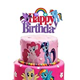 Rainbow Acrylic My Little Pony Happy Birthday Cake Topper, My Little Pony Friendship Collection Themed Birthday Party Decoration Supplies