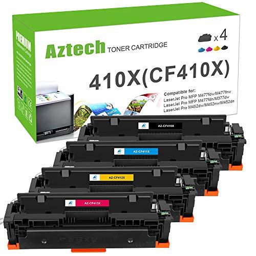 Aztech Kompatibel 410X Toner Cartridge Replacement für HP CF410X CF411X CF412X CF413X CF410A für M477fdw Toner HP Color Laserjet Pro MFP M477fdw M477fdn M477fnw M452dn M452nw m452dw M377dw
