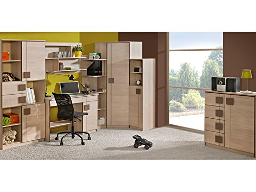 SMARTBett GmbH Jugendzimmermöbel Komplett Set Mickys 04 (7 TLG.) Eiche Santana/Braun