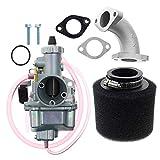 KKmoon VM22 Kit carburateur 26mm pour Mikuni Pipe d'admission Pit Dirt Bike 110cc 125cc 140cc Lifan YX Argent
