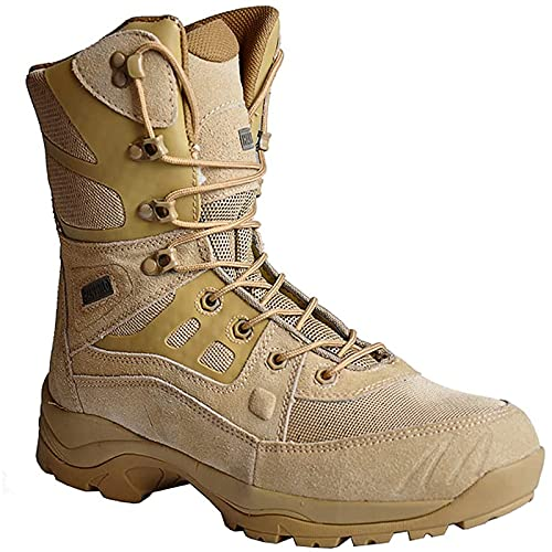 Botas TáCticas para Hombre Zapatos de Combate CañA Alta Impermeables Antideslizantes Botas de Senderismo para Acampar Al Aire Libre Botas de Desierto Transpirables con Cordones Zapatos de Trabajo