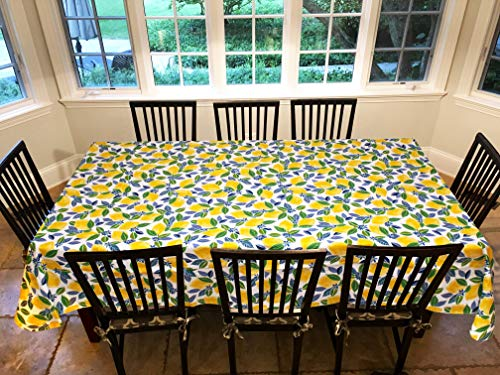 Covers For The Home Deluxe Stitched Edged Flannel Backed Vinyl Drop Tablecloth - Contemporary Lemon Pattern - 60' x 90' - Oblong