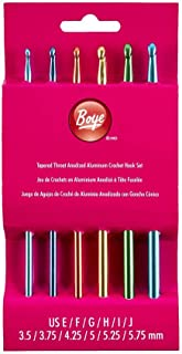 Boye 6281 6-Piece Aluminum Crochet Bonus Hook Set, Size Ranges E-J