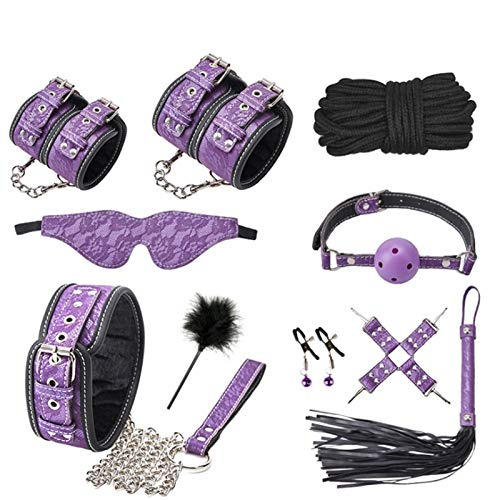 CSHClock 10-pieces Leather F-lírting Tois Skin Friendly Blindfold Feathers Female Choker Nipp'le Clips Adjustable Handcuf'fs Jacket Bêginnêrs Exercise Device (Color : Purple)