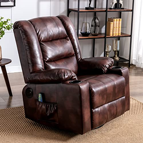 ComHoma Massage Recliner Chair with Speaker, PU Leather, & Home Theater with Heat Rocker Recliner for Living Room