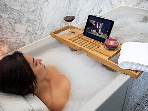 バスタブトレーバステーブル大サイズバスブックスタンド伸縮式バスタブラック竹製お風呂用品