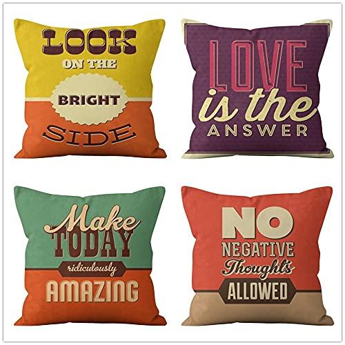 Fundas de Cojín Lema Motivacional Algodón de Lino Suave Cuadrado Funda de Almohada Decoración Hogar Cushion Covers para Salón Sofá Coche Dormitorio Throw Pillow Case Juego de 4 L903 50x50cm/20x20inch
