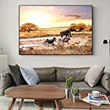 N / A Afrika Landschaft Wandplakate und Drucke Elefant Zebra Leinwand Kunst Wandmalereien Realist Leinwand Drucke für Wohnzimmer Dekor 60x90 cm No Frame