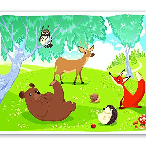 murando Fototapete Kinderzimmer 300x210 cm Vlies Tapeten Wandtapete XXL Moderne Wanddeko Design Wand Dekoration Wohnzimmer Schlafzimmer Büro Flur für Kinder Kindertapete Wald Tiere e-A-0031-a-a