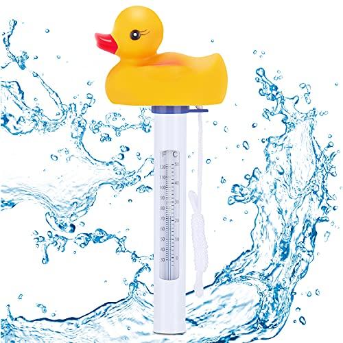Renfox Termómetro Piscina Flotante, Termómetro de Agua en Forma de Pato Resistente a Roturas con Cuerda para Piscina Jacuzzi Acuario Spa Interior y Exterior