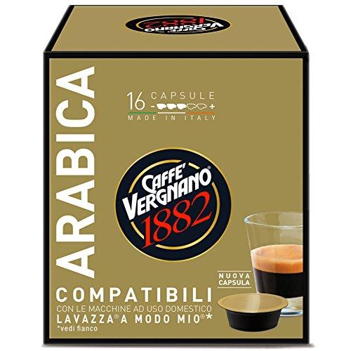 Caffè Vergnano 1882 Capsule Caffè Compatibili Lavazza A Modo Mio, Arabica - 8 confezioni da 16 capsule (totale 128)