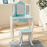 Fashion Prints TD-11670E Teamson Kids - Gravures de mode Tropical Vanity Table et Tabouret Bois Bleu/Blanc 59,69 x 29,21 x 97,79 cm
