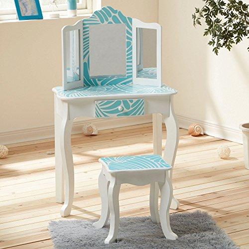 Fashion Prints Teamson Kids houten tafel & kruk set van tropisch hout, turquoise blauw / wit, 59.69 x 29.21 x 97.79 cm