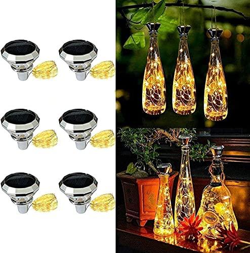 6 unidades de luz solar para botellas de 20 ledes, 2 m, cadena de luces LED de diamante, luces de ambiente, botella de vino, alambre de cobre, para botella DIY, decoración, cálida