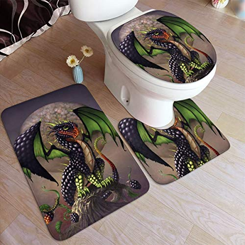 LAOLUCKY Badvorleger 3-teiliges Set Weicher Flanell Waschbare WC-Sitzbezüge Toilettendeckel Bezüge Kissen rutschfeste Badmatten Fantasie Drache Mythisches Monster