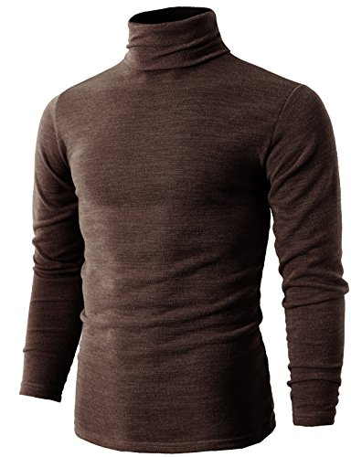 H2H Mens Casual Turtleneck Slim Fit Pullover Sweaters with Twist Patterned Brown US L/Asia 3XL (KMTTL028)