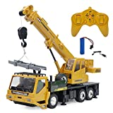 RC Crane Truck Toy, 2.4G Remote Control Car Toy RC Construction Vehicles with Lights and Sound, Gifts for Kids 8 Years Old and Up