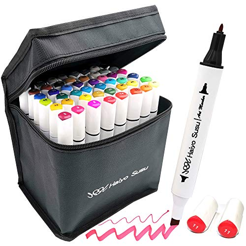 Haiyo Susu 48 Alcohol Markers Set-Alcohol Markers Touch New Markers, Graffiti Markers Touch Twin Tip Markers Text Marker Pens Set for Students Manga Artist
