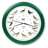 KOOKOO Singvögel RC Verde, Reloj de Pared con 12 pájaros cantores, nativos, grabaciones Originales de la Naturaleza