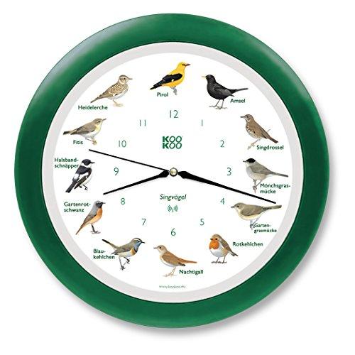 KOOKOO Singvögel Grün, Die Singende Vogeluhr, mit 12 heimischen Singvögeln und echten, natürlichen Vogelstimmen, mit RC Funkquarzwerk und Lichtsensor