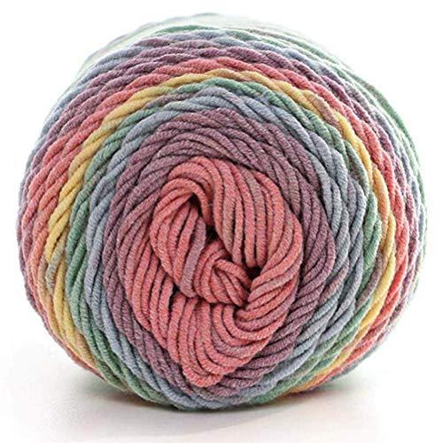 1 rollo de hilo de algodón de leche de seda, hilo de tejer, bufandas de mano, hilo de tejer de lana, hilo de ganchillo, hilo de tejer, hilo de ganchillo, colores del arcoíris