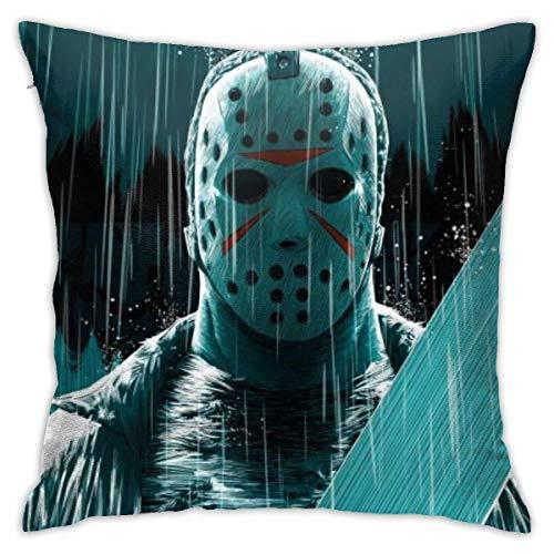 EOPRO Jason-Voorhees Horror Misterioso personaggio federa per cuscino divano decorazione casa 45,7 x 45,7 cm