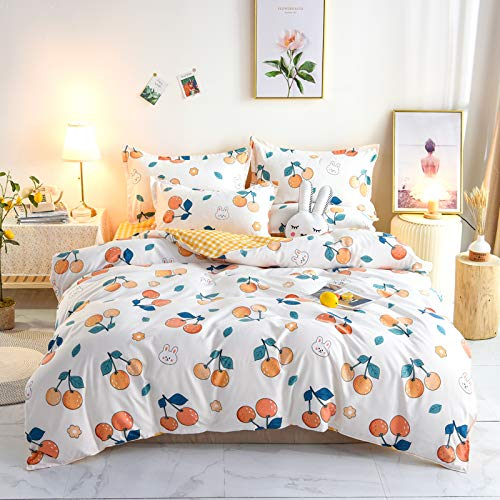 Cartoon Fruit Pattern Quilt Cover Pillowcase, Queen-Size Bedding For All Seasons, Super Soft And Comfortable, Easy To Care For Home Textiles