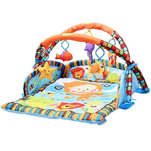 MAJOZ0 Baby Spieldecke mit Spielbogen, Krabbeldecke Spielmatte Activity Gym Erlebnisdecke mit Spielzeug,ab Geburt, 95 x 85cm