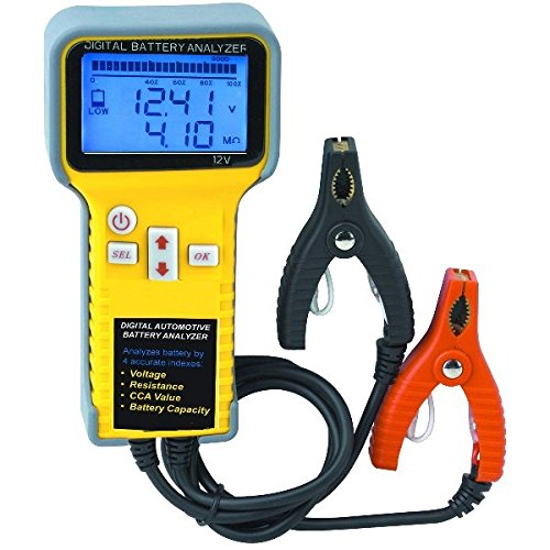 Digital Battery Tester Analyzer LCD Monitor Voltage Cold Cranking Amps (CCA) Resistance and Overall Battery Condition