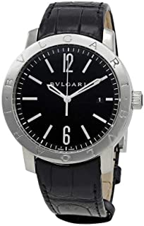 Bvlgari Bvlgari Automatic Black Dial Black Leather Mens Watch 101867