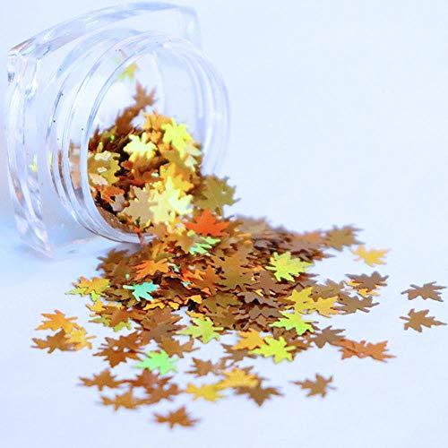 Multicolor Lentejuelas Camaleón Nail Art Glitter Flakes Caída Hojas Diseño Laser Hoja de Arce Decoración de Uñas Manicura, Oro