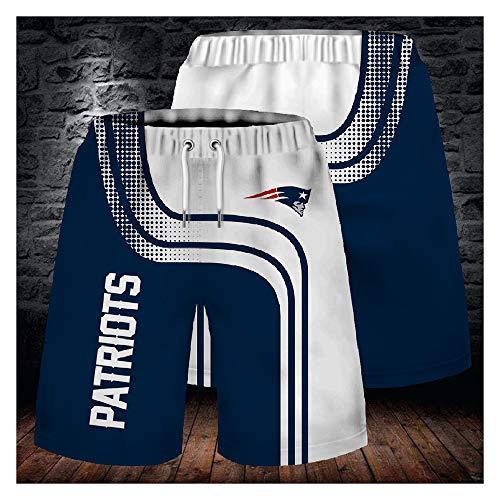 GMRZ Herren Short, NFL Stretch Strandhose Mit New England Patriots Logo Design American Football Team Sportbekleidung Fans Rugby Kurze Hose 3D Druck Sommer Sport Shorts Unisex,L