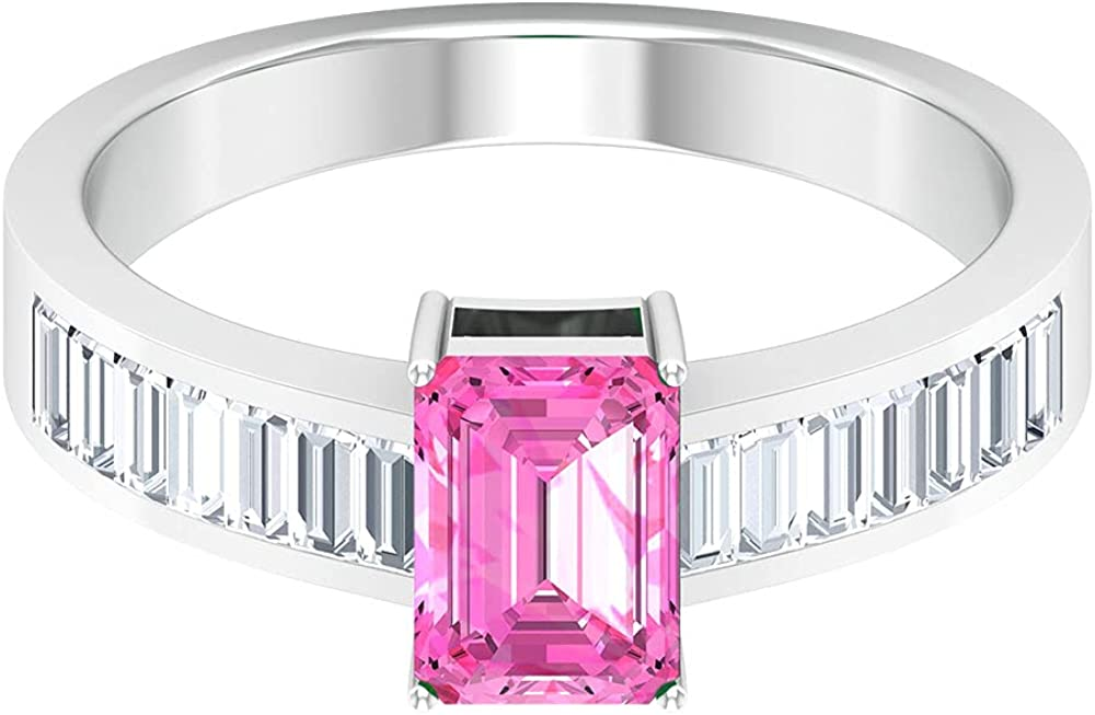 1.75CT Octagon Cut Created Pink Ba Solitaire Bombing free shipping with Los Angeles Mall Ring Sapphire