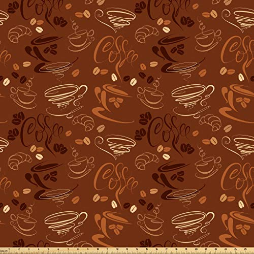 Lunarable Coffee Fabric by The Yard, Doodle Style Cups and Beans Curves and Swirls Pattern on Abstract Background, Microfiber Fabric for Arts and Crafts Textiles & Decor, 1 Yard, Dark Brown