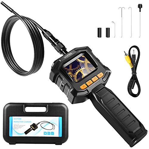 HOMIEE Caméra d'inspection numérique avec écran de contrôle LCD, 3.2ft IP67 Tube de vidéoscope Endoscope étanche, 8 Niveaux de luminosité LED et diamètre 8mm, Longueur 1m