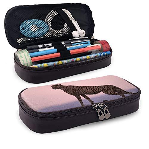 Gepard Habitat Federmäppchen Federmäppchen, Make-up-Stifttasche, Organizer, langlebig, für Studenten, Schreibwaren mit Doppelreißverschluss, Stifthalter für Schule/Büro/Reisen