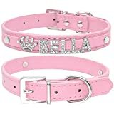Didog Smooth PU Leather Custom Dog Collars with Rhinestone Personalized Name Letters,Fit Small Medium Dogs,Pink,XS Size