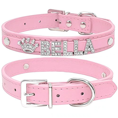 Didog Smooth PU Leather Custom Dog Collars with Rhinestone Personalized Name Letters,Fit Small Medium Dogs,Pink,M Size