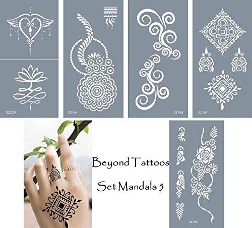 Stencil per tatuaggi in microrete, mascherine per fare disegni sul corpo, autoadesive, semplici e riutilizzabili, set da 5 fogli di mandala diversi