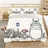 Totoro BedingCover Set My Neighbor Totoro Bedding Cartoon Character Bed Sets 2/3/4PCS Realistic Quilt Covers/Sheets/Pillowcases,Twin/Full/Queen/King Size (11,King-229x259cm-4PCS) (1,King)