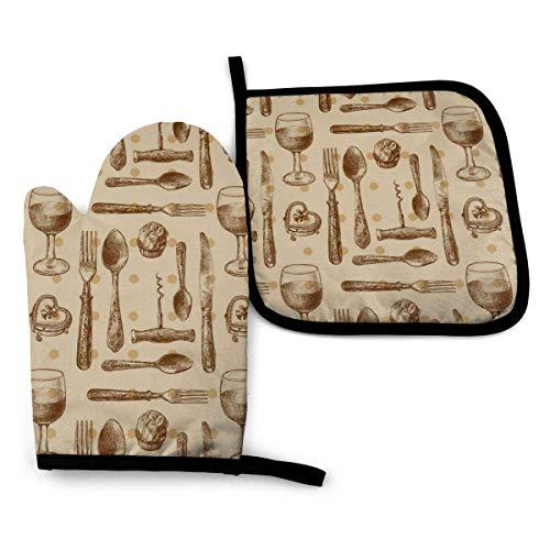 Pamela Hill Ofenhandschuhe und Topflappen Muster mit Besteck (2) Ofenhandschuhe und Topflappen Grillhandschuhe-Ofenhandschuhe und Topflappen rutschfeste Kochhandschuhe