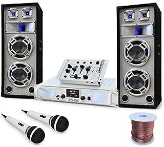 Electroni-Star Polar Bear - Equipo DJ PA , Set Completo , Mesa de Mezclas , Altavoces , Bass Reflex , Amplificador 1000W , Potencia 2200W , USB , SD , Radio , Eventos con hasta 350 Personas , Blanco
