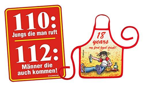 Mega-shirt geschenk set voor de 18e verjaardag metalen bord met kleine schort set 110 jongens die Man Bel & 18 years 71 jaar 71 jaar