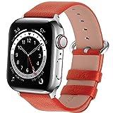 Fullmosa Compatible avec Bracelet Apple Watch 38mm/40mm,Bracelet iWatch Series SE/6/5/4/3/2/1 Band en Cuir de Remplacement pour Femme Homme YanSeries,Orange,38mm/40mm