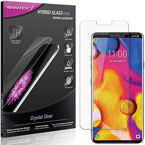 SWIDO Panzerglas Schutzfolie kompatibel mit LG V40 ThinQ Bildschirmschutz-Folie & Glas = biegsames HYBRIDGLAS, splitterfrei, Anti-Fingerprint KLAR - HD-Clear