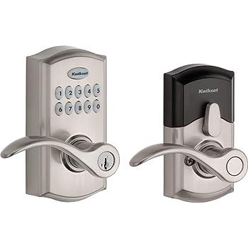 Kwikset SmartCode 955 Keypad Electronic Lever Door Lock Deadbolt Alternative with Pembroke Door Handle Lever Featuring SmartKey Security in Satin Nickel