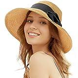 Tacobear Pamela Mujer Verano Sombrero Plegable Sombrero de Playa ala Ancha Sombrero de Sol Gorro de Paja Viaje Vacaciones Protección UV para Mujer (Negro)
