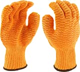 West Chester 708SKH Medium Weight Polyester Knit Gloves – [Pack of 12] Large, Orange, PVC Crisscross Grip Pattern Gloves with Elastic Wrist